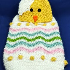 Newborn Easter Chick Hat and Cocoon Photo Prop Pattern by AMKCrochet.com
