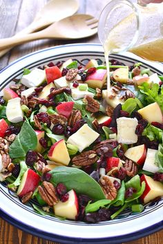 This Apple Brie Salad combines the crispness of apples with the creaminess of Brie cheese in a delicious salad that's perfect year round! Apple Walnut Salad, Apple Cranberry Salad, Healthy Salads, Healthy Eating, Healthy Recipes, Healthy Foods, Apple Salad Recipes, Spinach Apple Salad, Egg Salad