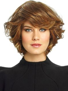 Chin-length bob cut with curly hair