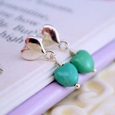 Real Turquoise Earrings, Children's Jewelry, Sterling Silver, Heart Ear Posts, Genuine Stone, December Birthstone by myfirstjewellery on Etsy https://www.etsy.com/au/listing/209132708/real-turquoise-earrings-childrens