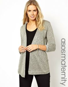 For maximum comfort, wear this gray textured #maternity cardigan from @ASOS.com over your fave leggings.