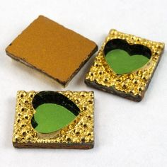 6mm x 10mm Gold Rectangle with Green Heart