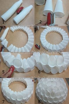 Muñeco de nieve hecho con vasos de plastico                                                                                                                                                      Más