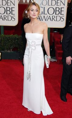 Keira Knightley in a strapless white Valentino gown at the 2006 Golden Globe Awards