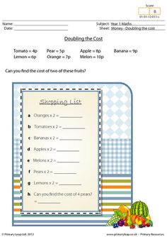 Main Idea Worksheet 1st Grade Word Year  Maths Perimeter Worksheet  Maths Printable Worksheets  Addition Worksheets For Kinder Excel with Rotation Worksheet Ks2 Excel Year  Maths Printable  This Worksheet Is All About Doubling The Cost  Students Are Asked To Work Out The Cost Of Two Items Recycling Worksheets For Kindergarten