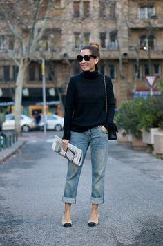 Black Turtleneck Sweater. Boyfriends. Chanel Slingbackss.