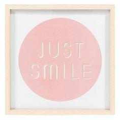 Bild aus Holz 22 x 22 cm JUST SMILE COOPER