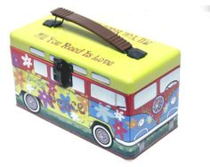 "Hippie Van Bus Lunch Box - All You Need Is Love, Love Peace, Flower Power - Food Safe Fun Vw Van Designed Lunch Box Lunchbox - 9"" X 5"" X 4.5"" - New . $18.99. All You Need Is Love, Love Peace, Flower Power. Fun Vw Van Designed Lunch Box Lunchbox. Food Safe. Approximately 9"" X 5"" X 4.5"". Hippie Van Bus Lunch Box with handle and latch. Hippie Van Bus Lunch Box with handle and latch.   All You Need Is Love, Love Peace, Flower Power.  Food Safe.   Fun Vw Van Designed Lunch Box L..."