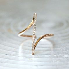 Pave Rose Gold Vertical Bar Ring Sterling Silver from kellinsilver.com #SterlingSilverRoses