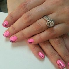 Cute pink nails with a funky design on the side. By Becky at @SimpleSolitude in Vancouver, WA!