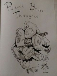 Paint your thoughts hand and pencil doodle