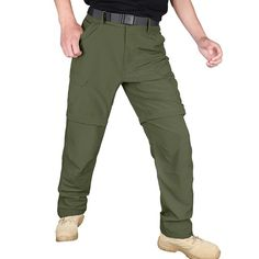Hardland Men's Lightweight Convertible Pants Tactical Cargo Pants, Outdoor Fashion, Hiking Pants, 4 Way Stretch Fabric, Long Pants, Nice Body, Workout Pants, Convertible, Khaki Pants