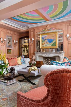 Inside This Year's Sumptuous Kips Bay Decorator Show House Solo star turns and a few surprising design threads characterize this year's interiors. Kips Bay Showhouse, Area Rug Sets, Pink Sofa, Bohemian Decor, Bohemian Style, Shabby, Room Decor, House Design, Design Design