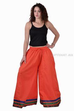 367de4b81d2c Indian Rajasthani Cotton Lace Work Orange Color Long Divided Skirt   Handmade  Skirt