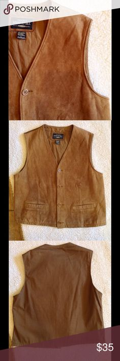Banana Republic Leather Boho Southwestern Vest Genuine leather, although it feels like suede rather than the classic polished leather. Cotton back. Perfect with a flowy mini dress and booties! I believe this can fit a size L or XL- waist is 40', bust is 43. It looks super cute as an oversized vest if you wear it unbuttoned  questions and offers are welcome  Banana Republic Jackets & Coats