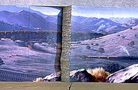 This artist paints some amazing murals. This image shows a painted fault line in the image. It looks as if a the wall cracked after the mural was painted, but the crack is part of the mural. Visit his site - he has lots of really neat murals with locations and stories behind each.