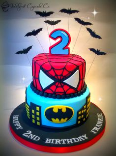 Spiderman/Batman cake.........