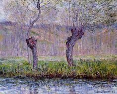 Saules au printemps, huile sur toile de Claude Monet (1840-1926, France)