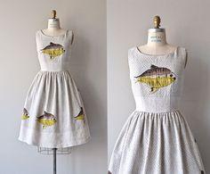 Midcentury Sunfish dress  vintage 1950s dress  linen