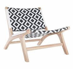 Black And White Strap Girona Outdoor Patio Accent Chairs