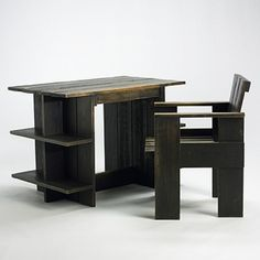 crate desk and chair by gerrit rietveld (1960) ( MR.REITVELD IS ONE OF MY FAVORITE DESIGNERS OF ALL TIME.I HOPE TO GET A GREAT DEAL OF INSPIRATION FROME HIS WORKS,BUT NOT FOLLOWING TOO CLOSELY,TO NOT CAUSE COPYRIGHT INFRINGEMENT.DB.)