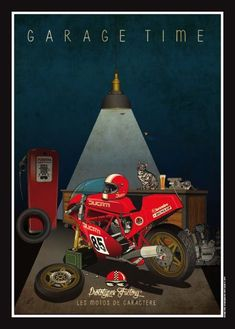 Habermann & Sons Classic Motorcycles and Bike Poster, Motorcycle Posters, Motorcycle Art, Bike Art, Motorcycle Birthday, Classic Motorcycle, Ducati 851, Ducati Motorcycles, Custom Motorcycles