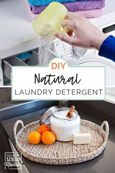 Did you know you can make your own laundry detergent thanks to this DIY laundry detergent guide? This homemade laundry soap is super easy and requires only 4 ingredients. Save money with this non-toxic laundry cleaner - perfect for those swapping to natural cleaning products! Natural Laundry Detergent, Homemade Laundry Detergent, Homemade Shower Cleaner, Cleaners Homemade, Cleaning Recipes, House Cleaning Tips, Soap Recipes, Essential Oils Cleaning, Natural Cleaners