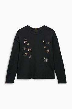 Buy Black Embellished Insect Technical Sweatshirt from the Next UK online shop
