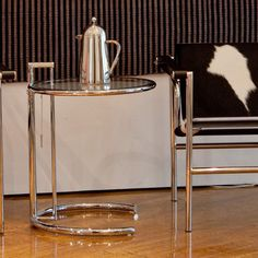 Euro Style Eileen Gray End Table-Glass/Chrome - 08011