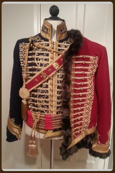 Napoleontic Hussar's costume, cotton, wool, metal. Made by Angela Mombers. You can see how it's made on https://www.facebook.com/Walkingthroughhistory