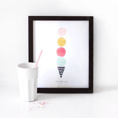 Ice-cream Illustrated Art Print - une glace by TheLovelyDrawer on Etsy https://www.etsy.com/listing/193977802/ice-cream-illustrated-art-print-une