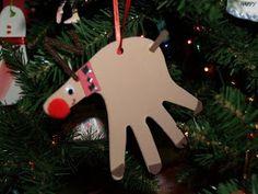 Reindeer handprint ornament- we did this one last year