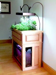 Nice wood indoor aquarium aquaponics build.
