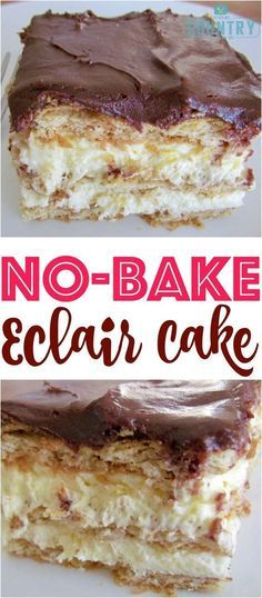 Superb No-Bake Eclair Cake is a dessert that is so easy to make but the flavors come together and make the most impressive and yummy dessert ever! The post No-Bake Eclair Cake is a dessert t . No Bake Eclair Cake, No Bake Cake, Icebox Cake, Brownie Desserts, Oreo Dessert, No Bake Desserts, Easy Yummy Desserts, French Desserts, Plated Desserts