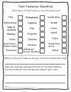 Text Features Checklist in an Informational Text Graphic Organizer Pack-Common Core aligned for grades 2-4 in Reading Informational Text $