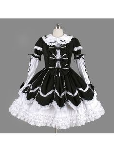 Black and White Long Sleeves Bow Gothic Lolita Dress