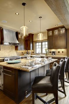 dark cabinets with light countertops
