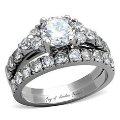 A Perfect 1.5CT Round Cut Solitaire Russian Lab Diamond Bridal Set Wedding Band Ring - Joy of London Jewels