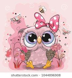 Cute Owl with flowers and butterflies. Cute Cartoon Owl with flowers and butterflies royalty free illustration Cute Owl Drawing, Cute Drawings, Unicorn Pictures, Owl Pictures, Owl Cartoon, Cute Cartoon, Cute Owls Wallpaper, Images Kawaii, Owl Artwork