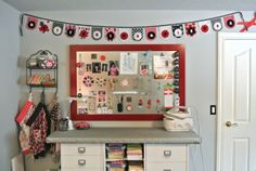 A Little Bit Biased: Sew Inspiring Rooms {Bitty Bits and Pieces}  Like the ironing table with storage underneath