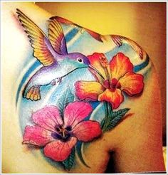 Flowers n Hummingbird Tattoo On Back Shoulder
