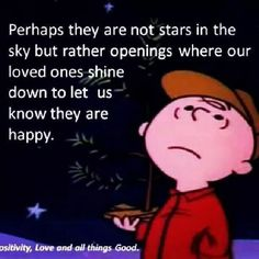 Charlie Brown - Stars in the sky are our loved ones shining down to let us know they are happy - - I'd like to think so. Great Quotes, Quotes To Live By, Inspirational Quotes, Clever Quotes, Awesome Quotes, The Words, Snoopy Quotes, Peanuts Quotes, Cartoon Quotes