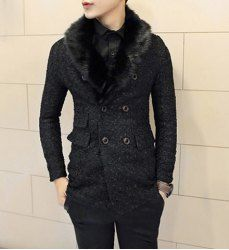 $47.36 Slimming Trendy Thicken Lapel Neck Double Breasted Long Sleeves Polyester Coat For Men