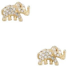 Kate Spade Dainty Sparklers Pave Elephant Studs ($48) ❤ liked on Polyvore featuring jewelry, earrings, elephant earrings, kate spade earrings, kate spade, pave stud earrings and studded jewelry