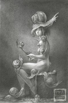 Originele potlood tekening, afbeeldingsgrootte is ongeveer 8 x 12 inch Een kunstenaar model poseren met slakken U kunt sommige van mijn andere originele kunst hier vinden: https://www.etsy.com/shop/studiorayyan?section_id=6361800 AUTEURSRECHT INFO Alle Copyright van kunst weergegeven