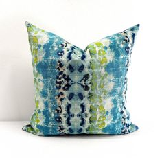 Mali Birch Frost Blue Pillow cover.Blue by TwistedBobbinDesigns
