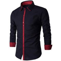Spliced Design Turn-Down Collar Long Sleeve Shirt