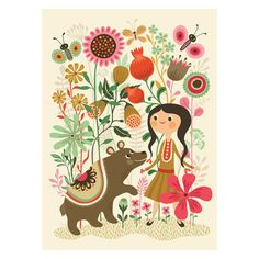 Helen Dardik's poster features a beautiful girl, her sweet bear, lovely flowers and fluttering butterflies, all in wonderful colours of coral, pink,…