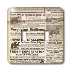 Cassie Peters Vintage - 1913 Vintage Horse Ads - Light Switch Covers - double toggle switch