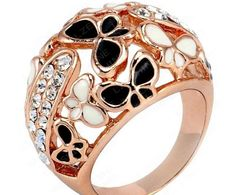 This Costume Ring is a show stopper. 18k Rose Gold Plated, Beautiful Enamel Butterfly Ring with Pave Austria Crystals.